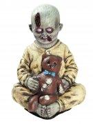 Zombiejunge mit Teddy Horror-Puppe beige-grau-braun 38x30x23cm