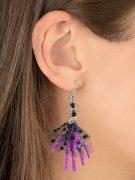 Halloween-Ohrringe mit Skull und Hexenhänden lila 6,5x5x1cm