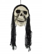 Sensenmann-Totenkopf Halloween-Hängedeko Skull schwarz-weiss 48cm