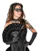 Fächer mit Pailletten Kostüm-Zubehör schwarz