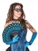 Fächer Pfauenfedern Kostüm-Accessoire türkis