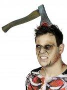Axt im Kopf Halloween-Haarreif silber-rot 37cm