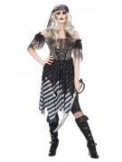 Geister-Piratin Halloween-Damenkostüm schwarz-grau