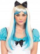 Alice Langhaar-Perücke mit Pony glatt blond-blau