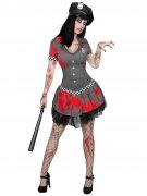 Zombie-Polizistin Halloween-Damenkostüm grau-rot