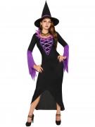 Magische Hexe Damenkostüm Zauberin schwarz-lila
