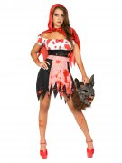 Zombie-Rotkäppchen Halloween-Damenkostüm rot-weiss-schwarz