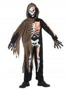 Schauriges Skelett Halloween-Kinderkostüm schwarz-weiss