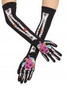 Tag der Toten Skelett-Handschuhe Sugar Skull schwarz-bunt