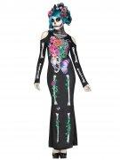 Tag der Toten Halloween-Damenkostüm Sugar Skull schwarz-bunt