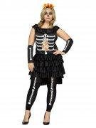 Tag der Toten Plus Size Halloween-Damenkostüm Skelett schwarz-bunt