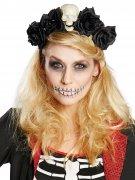 Tag der Toten Haarreif mit Blüten und Totenkopf schwarz-weiss
