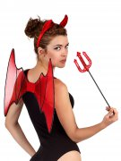 Teufelin Kostüm-Set Halloween Accessoires 3-teilig rot-schwarz