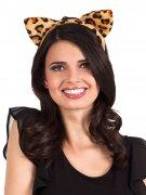 Süsser Haarreif mit Ohren Leopard orange-schwarz