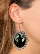 Hexen-Ohrringe Cameo mit Schmucksteinen schwarz-silber