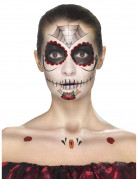 Tag der Toten Make-Up Tattoo-Set schwarz-rot-weiss