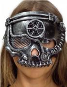 Steampunk Skelett-Halbmaske silberfarben