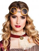 Runde Steampunk-Brille für Erwachsene braun