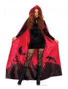 Halloween-Umhang mit Wolfsmotiv Rotkäppchen-Umhang rot-schwarz