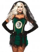 Monsterbraut Kostüm für Damen grün-schwarz