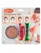 Verwesende Zombie-Wunde Make-up Set für Halloween bunt