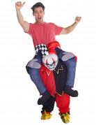 Skelett-Harlekin Carry Me Halloween Kostüm für Herren bunt