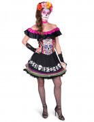 Dia de los Muertos Skelett-Schönheit Halloween Kostüm für Damen mit Sugar Skull Print schwarz-bunt