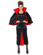 Düstere Vampirgräfin Halloween Kostüm für Damen mit Cape und Kleid schwarz-rot