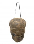 Mumienschädel Halloween-Partydeko mit Leuchtfunktion braun 20cm