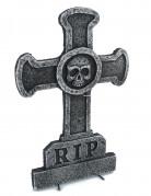 Grabkreuz mit Totenkopf Halloween-Partydeko grau 39 x 58cm