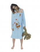 Bessessener Zombie Nachthemd Halloween Kostüm für Damen blau-rot