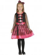 Bezauberndes Skelett-Mädchen Halloween Kostüm für Kinder rosa-schwarz-weiss