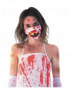 Halloween Zombie-Mundschutz Kostüm-Accessoire weiss-rot