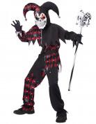 Böser Harlekin Halloween Kostüm für Kinder schwarz-rot-weiss