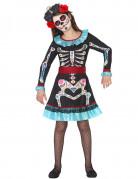 Tag der Toten-Skelettkinderkostüm für Mädchen schwarz-bunt