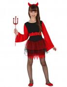 Kleine Teufelin Halloween Kostüm für Mädchen schwarz-rot
