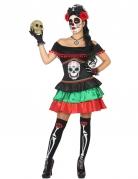 Tag der Toten-Skelettkostüm für Damen schwarz-bunt