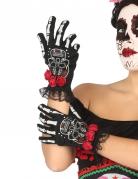 Dia de los Muertos Skelett-Handschuhe für Damen schwarz-weiss-rot