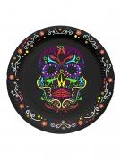 Sugar-Skull-Teller Tag-der-Toten-Tischdeko 6 Stück schwarz-bunt 17cm