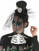 Dia de los Muertos Mini-Hut mit Schleier Halloween-Haarreif schwarz-weiss