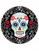 Dia de los Muertos Pappteller mit Sugar Skull Halloween-Tischdeko bunt 23cm