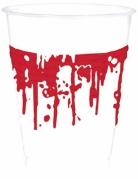 Blutige Partybecher Halloween-Tischdeko 10 Stück weiss-rot 200ml