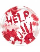Blutige Pappteller Halloween-Tischdeko 10 Stück weiss-rot 23cm
