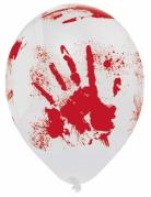 Luftballons mit blutigen Handabdrücken Halloween-Partydeko 6 Stück weiss-rot