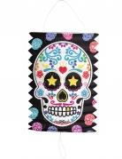 Dia de los Muertos Halloween-Lampion mit Sugar Skull bunt 16cm
