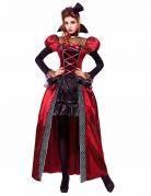 Viktorianische Vampirin Halloween Kostüm für Damen rot-schwarz-grau