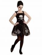 Skelett-Ballerina Halloween Kinderkostüm schwarz-silber