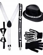 Skelett-Gentleman Accessoire-Set für Herren 4-teilig schwarz-weiss