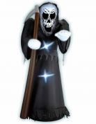 Aufblasbarer Sensenmann Halloween-Dekofigur 122cm schwarz-weiss-braun