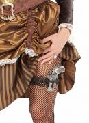 Damen-Strumpfband mit Pistole Steampunk schwarz